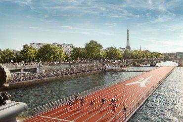 Une piste d'athlétisme flottante sur la Seine