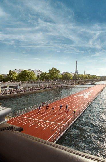 Une piste d'athlétisme flottante